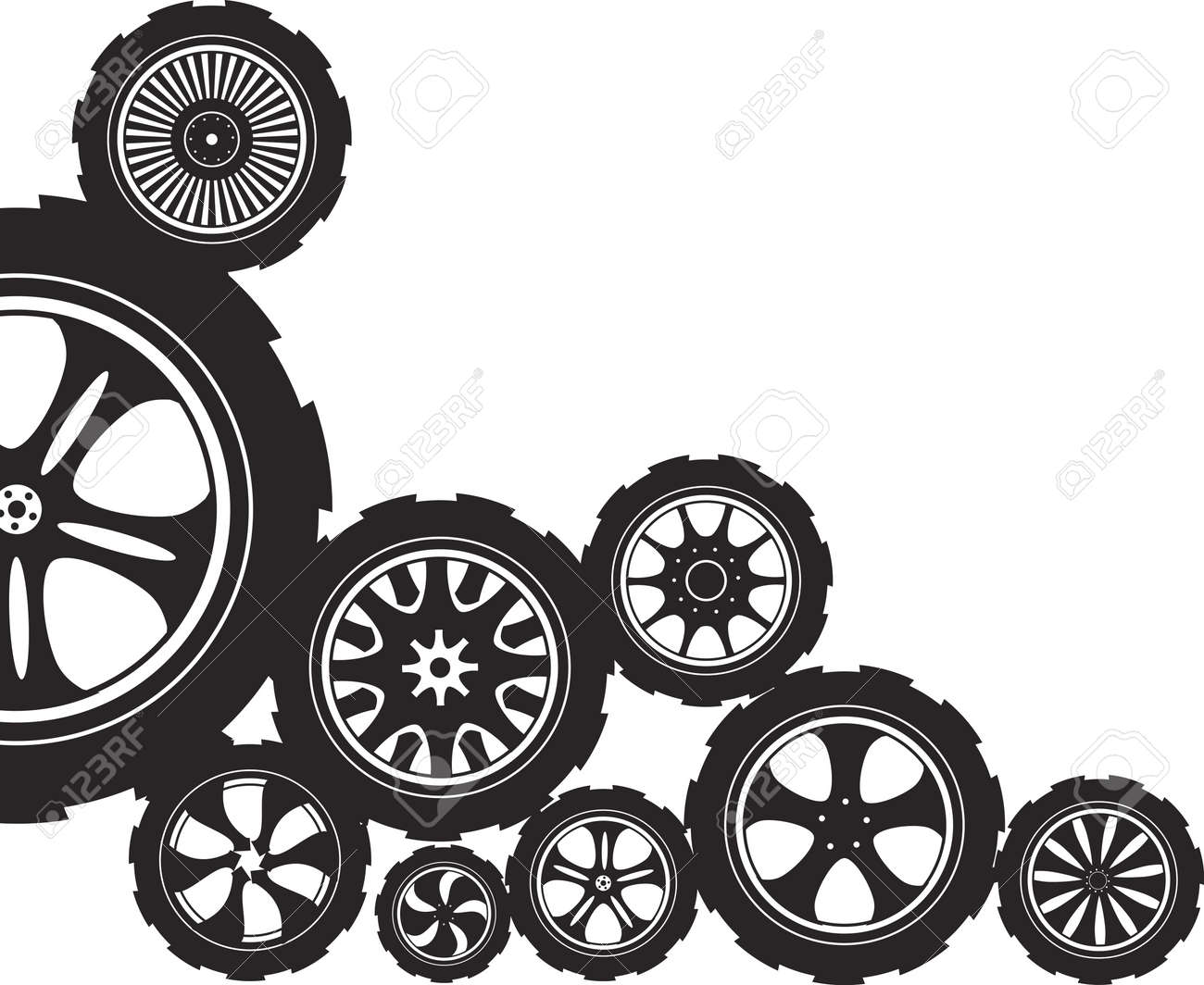 black  silhouette  automotive wheel with alloy wheels and tires Stock Vector - 12741556