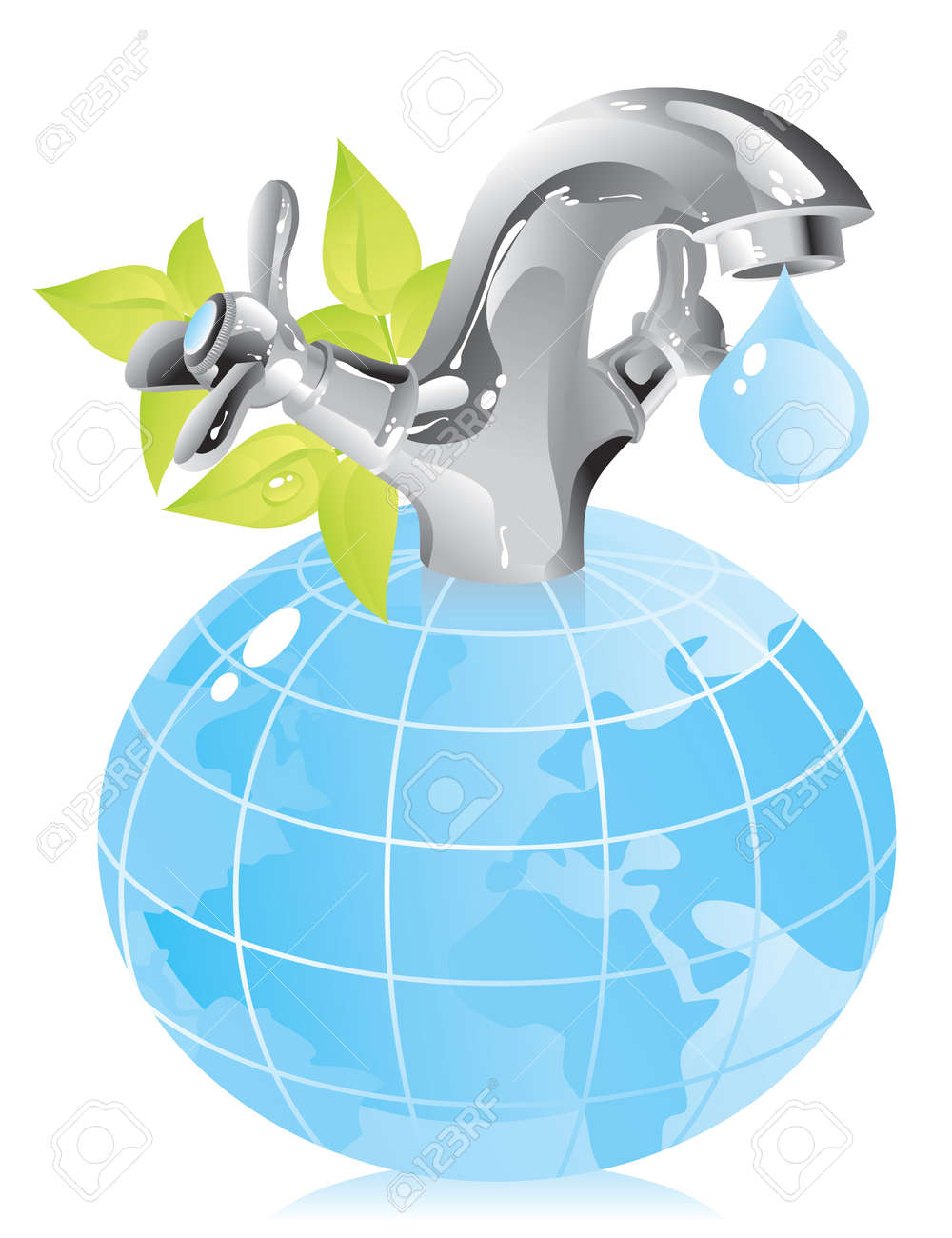 concept on the conservation of natural resources - water Stock Vector - 12741577