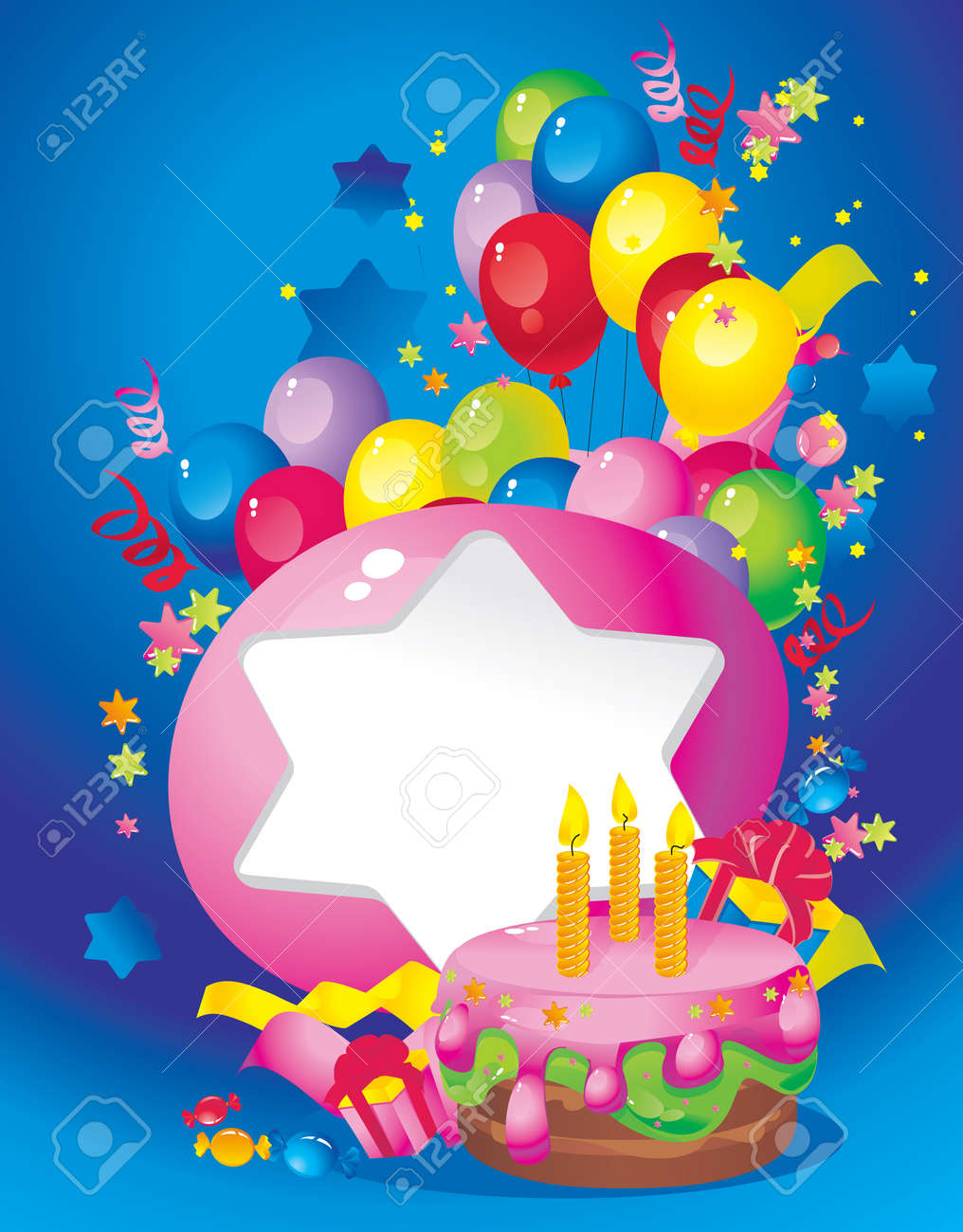 Bright Holiday composition of  cake, balloons, gift boxes, confetti, sweets, Streamer and  Frame for your text congratulations Stock Vector - 16194541