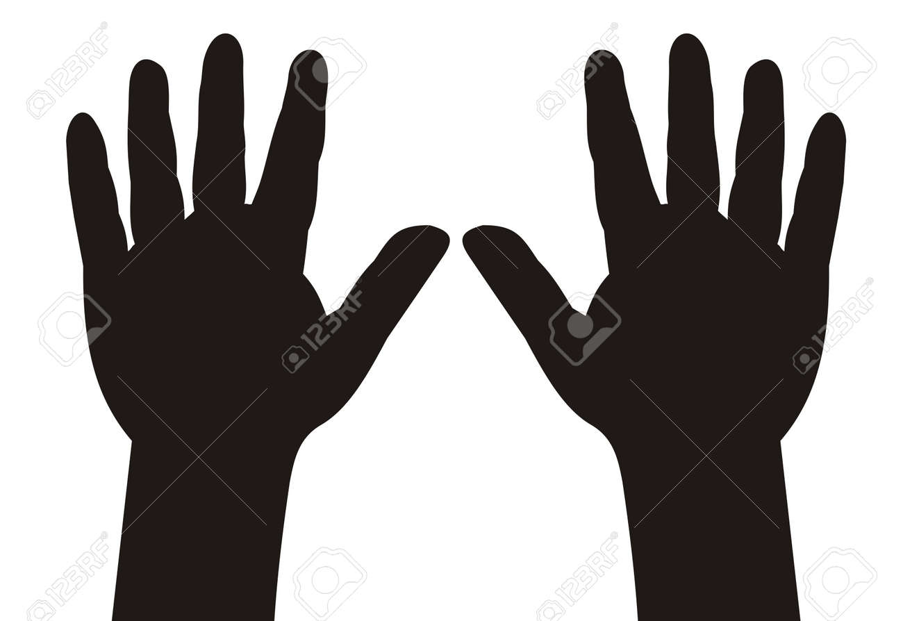 illustration - black silhouette child hands with five fingers spread Stock Vector - 16194491