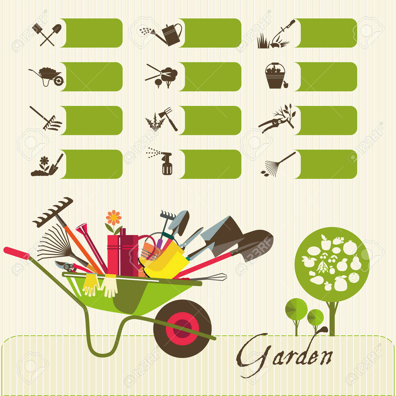 Tools for working in the garden icons on the theme of organic tools for working in the garden icons on the theme of organic farming symbols biocorpaavc