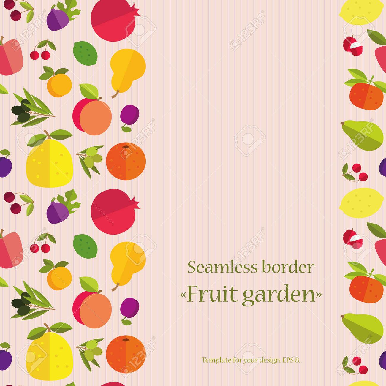 カラフルな果物 フルーツ ガーデン のシームレスな境界線 カード