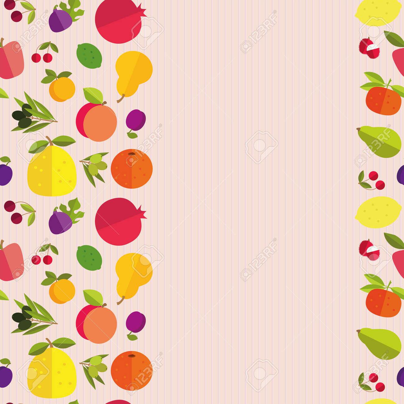 Frontera Inconsútil De Frutas Coloridas \
