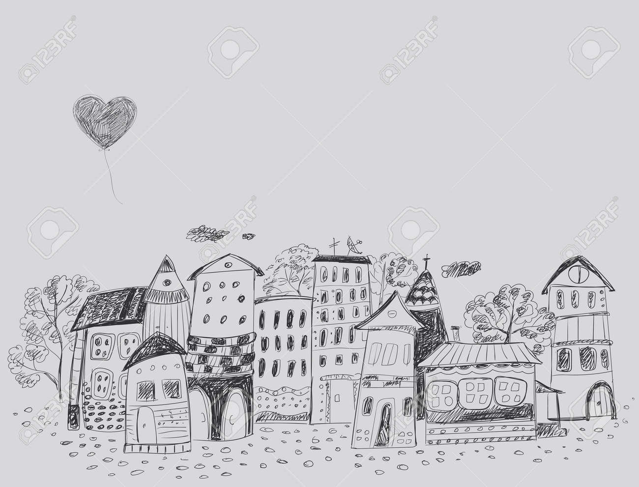 The Old Fairy-tale Town. Contour Hand Drawing. Royalty Free ...
