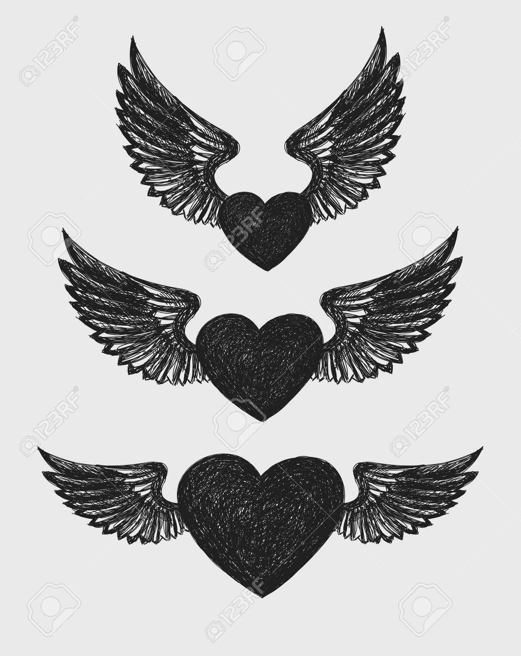 El Corazón Con Alas Un Conjunto De Tres Corazones Con Alas