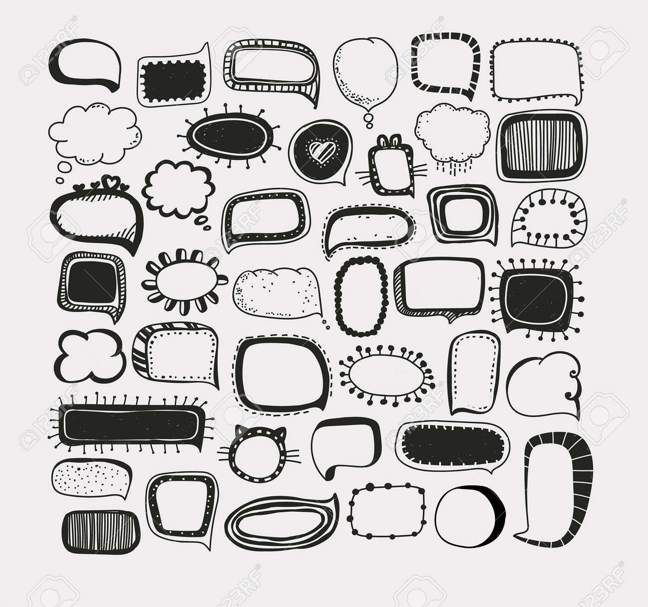 set of speech bubbles different forms of clouds hand drawing