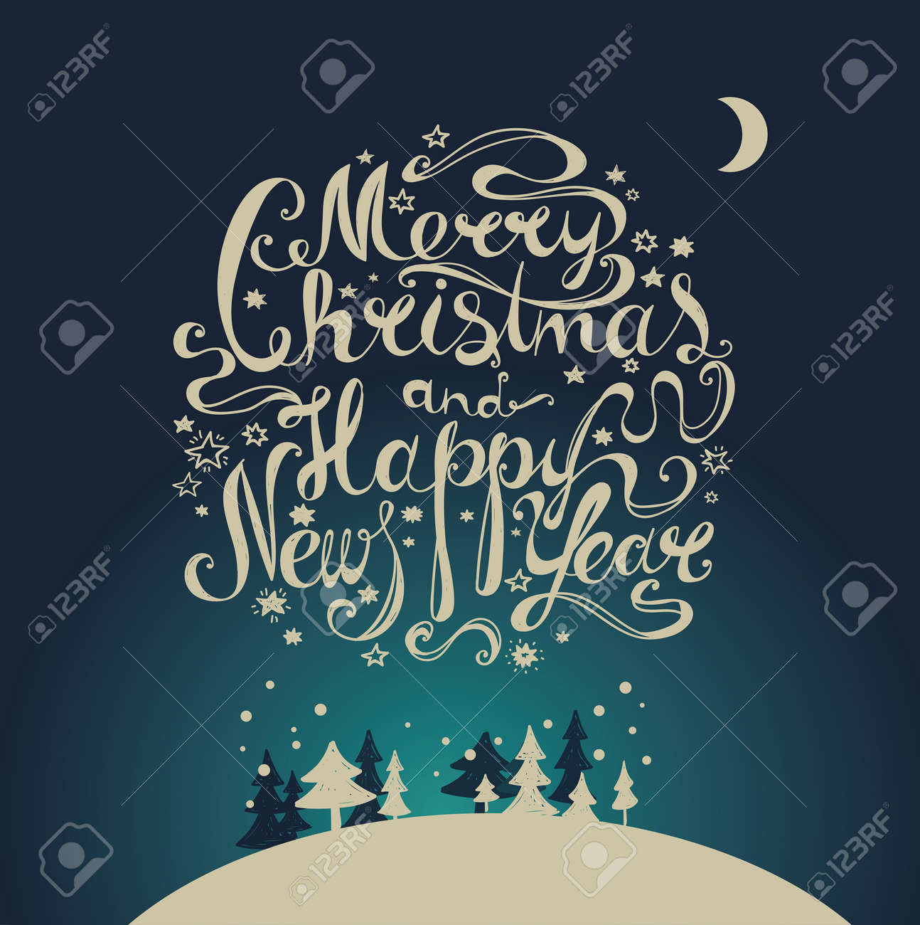 Lettering Merry Christmas And Happy New Year Twisted Font