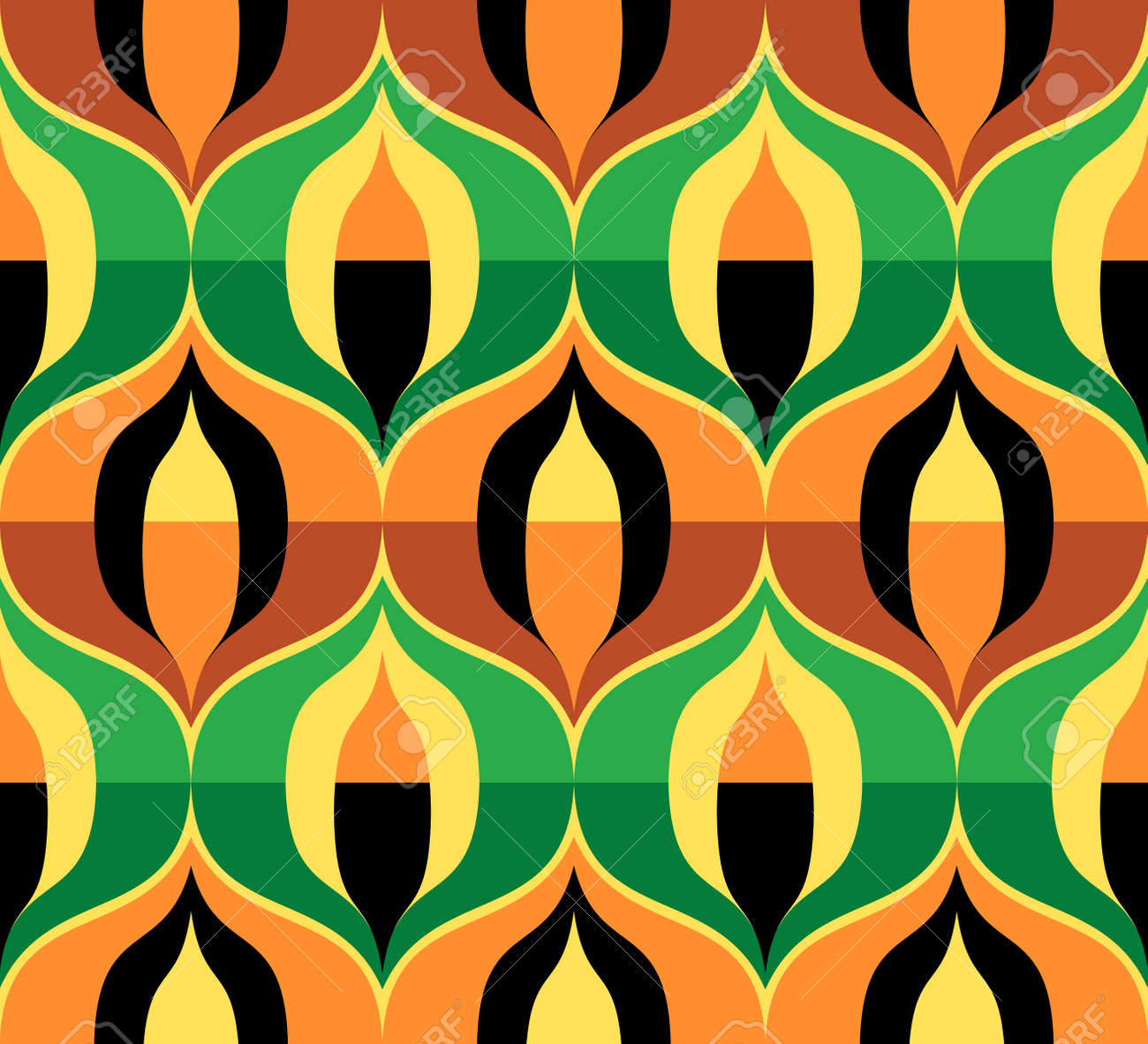 110829404 seamless retro pattern in the style of the sixties art deco vintage wallpaper or fabric