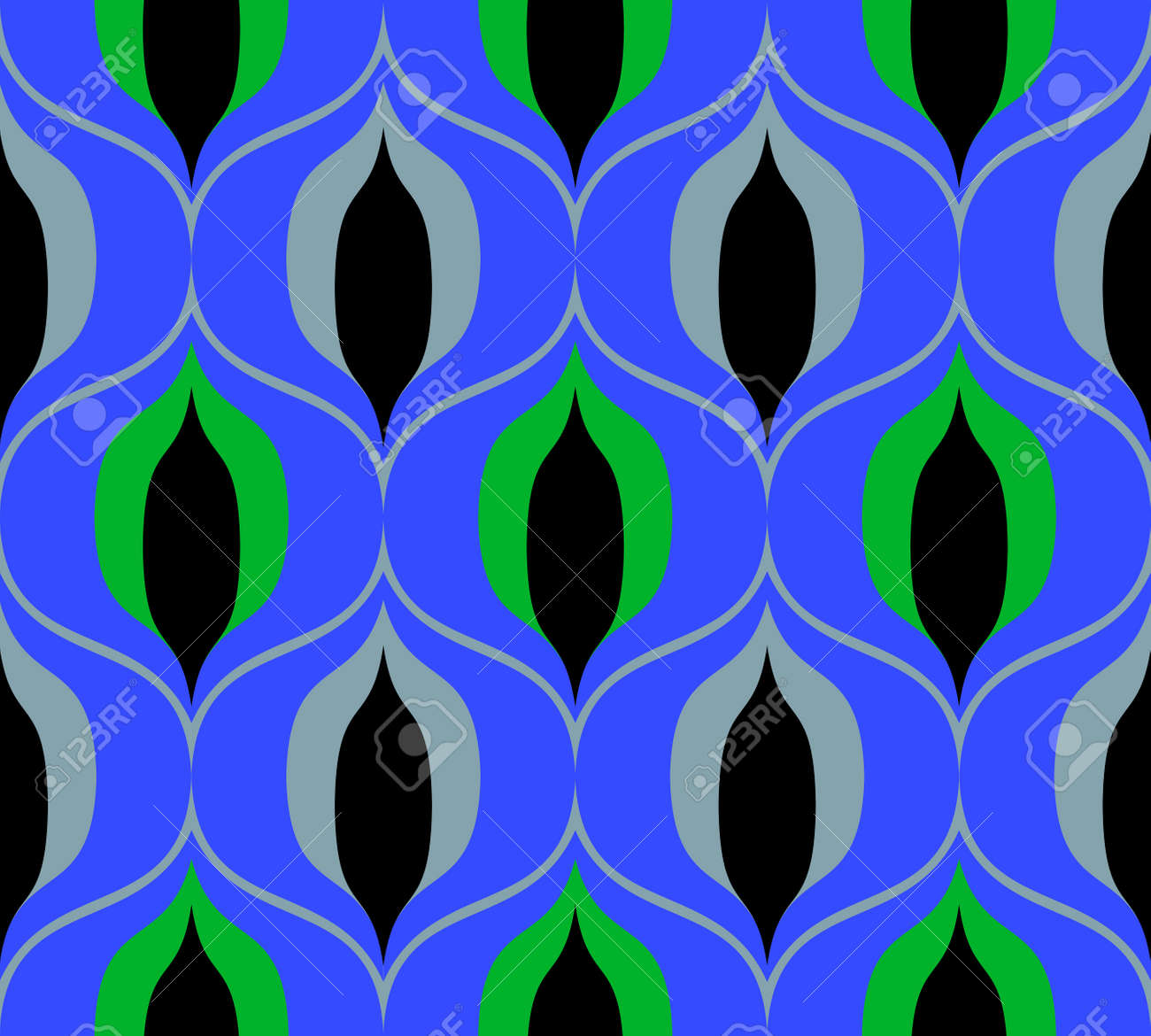 Seamless retro pattern in the style of the sixties. Art deco vintage wallpaper or fabric. - 125396148