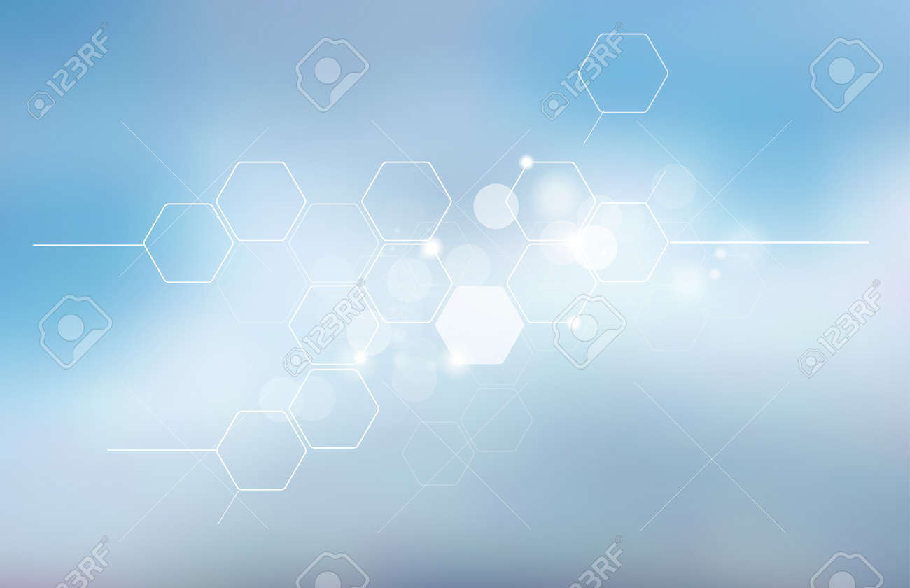 Abstract blurred science background with hexagons. Medicine, technology, high technology, Scientific research. - 124943319