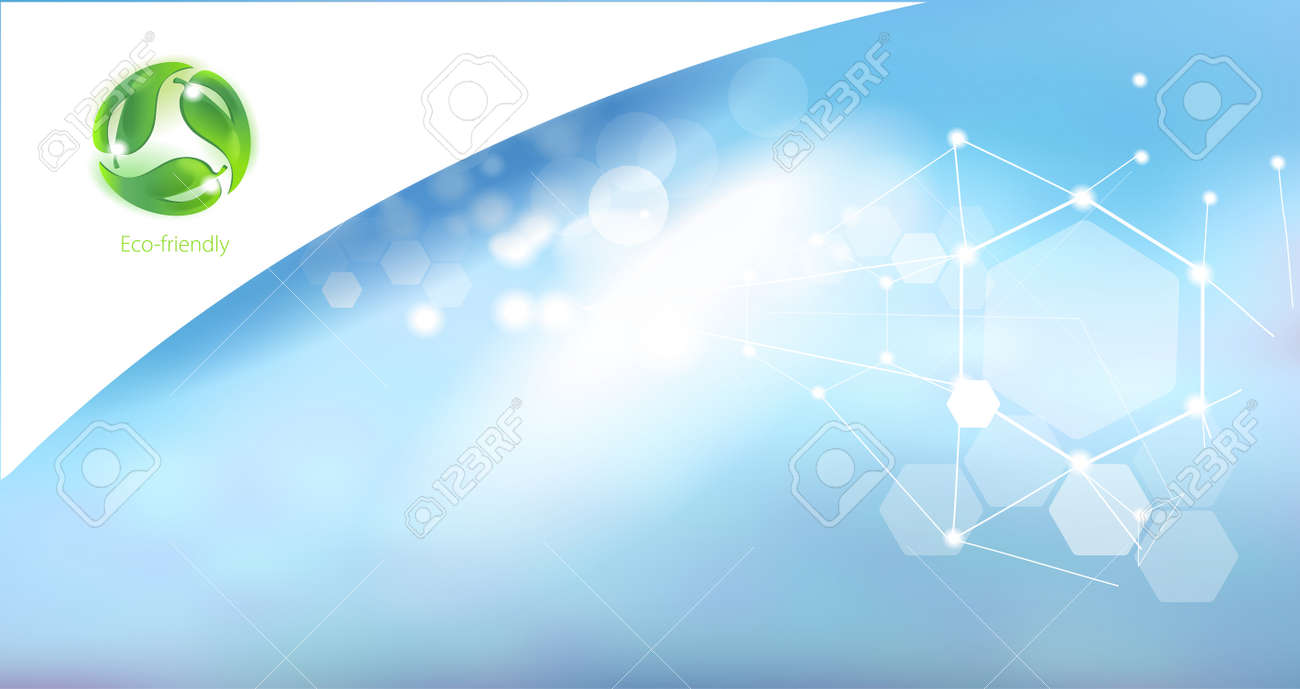 Caring for the environment. Symbol for eco-friendly products on abstract background. Science and research. - 124106672