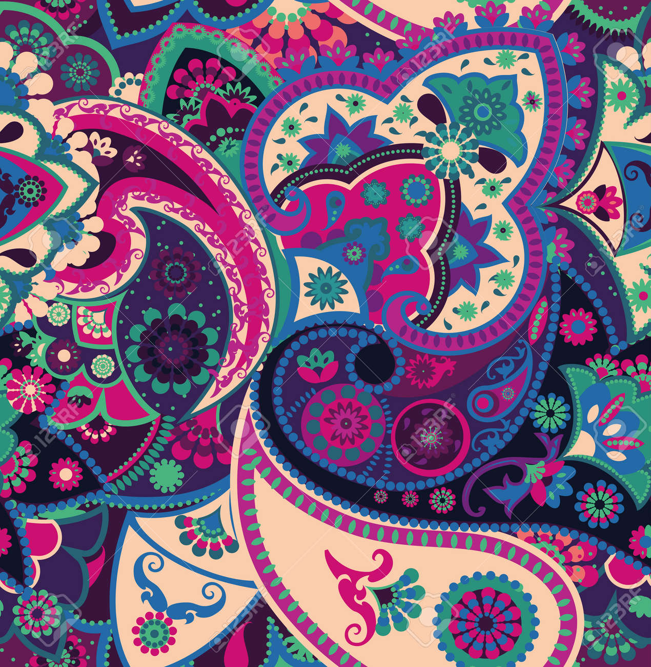 Seamless geometric pattern in oriental style. Traditional paisley motifs. Textiles and wallpaper. - 138660014