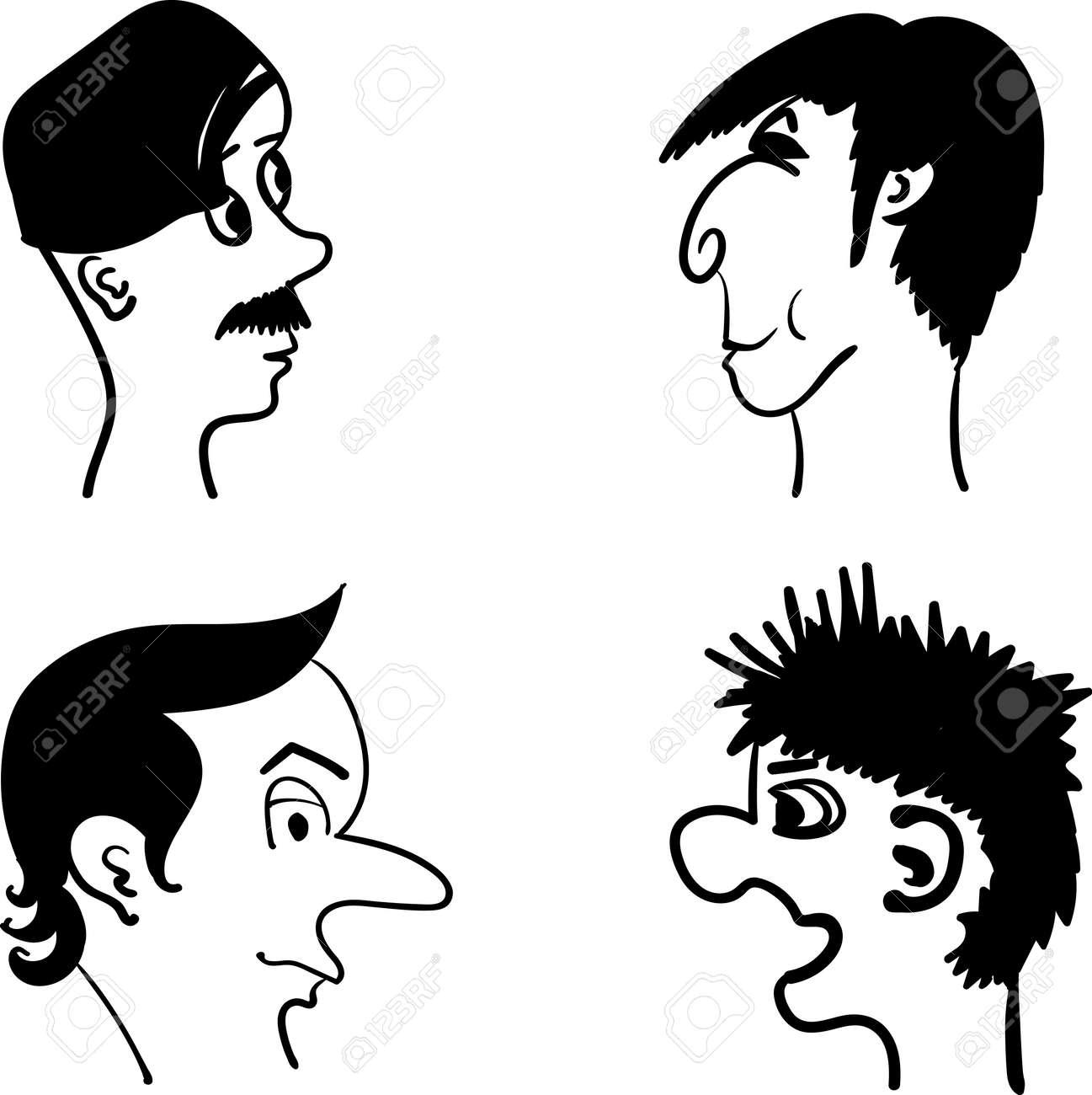 Profile Von Mannern Mit Verschiedenen Frisuren Und Mimik Comic