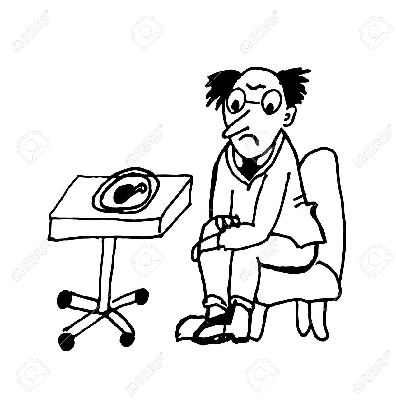 Man sitting in chair drawing - Vector A Man On A Diet Looking At A Fried Chicken Leg Sitting In A Chair Contour Caricature Sketch Comic Vector Illustration