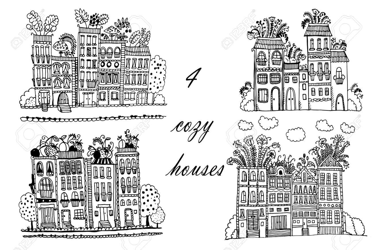 Banque dimages dessin ville fleurie ensemble de 3 illustrations avec des maisons de fantaisie drôle croquis dessin animé doodle dessinés à la main