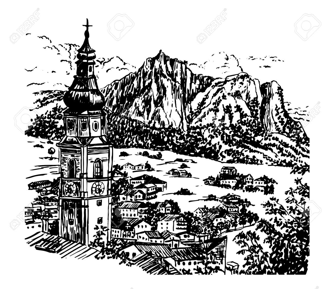 drawing alpine village in tyrol with a beautiful bell tower austria sketch hand drawn