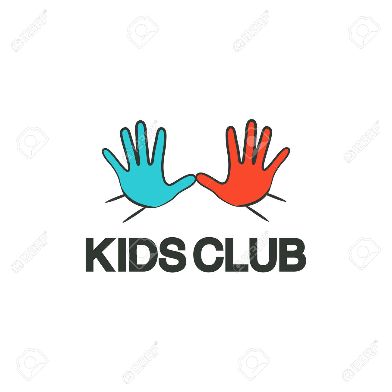 Kids Club Logo Template On White Background Royalty Free Cliparts