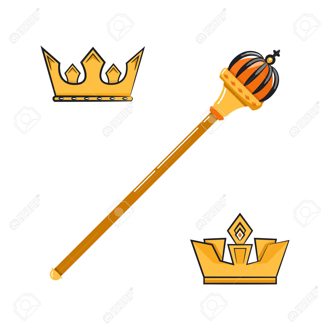 Vector Illustration Of Cartoon Scepter And Crowns Royalty Free Cliparts Vectors And Stock Illustration Image 109690712 It's high quality and easy to use. vector illustration of cartoon scepter and crowns