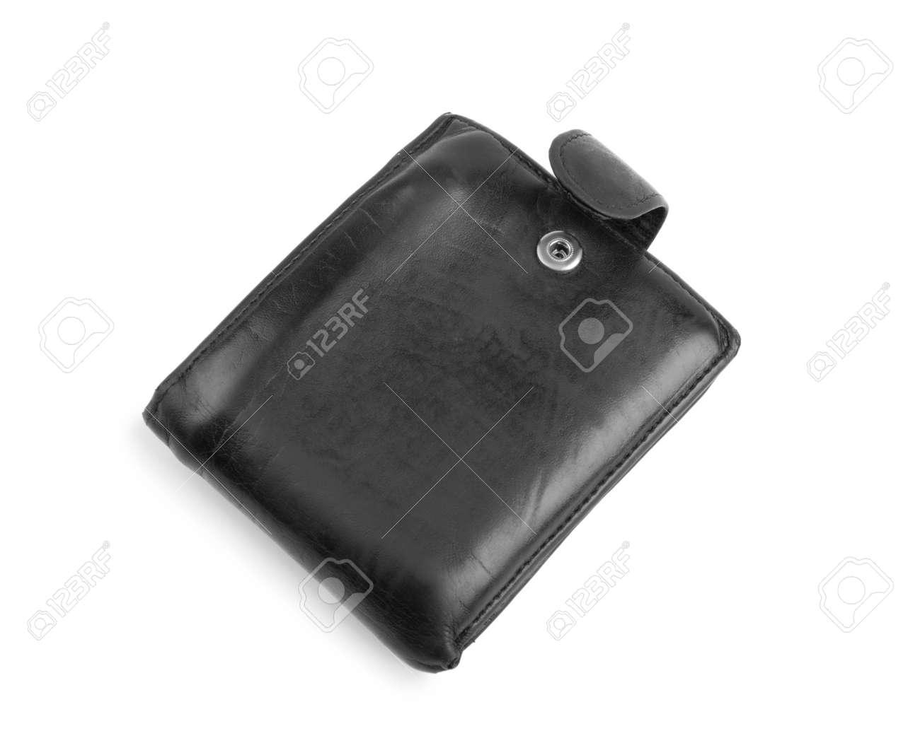 801153dcc893 Banque d images - Portefeuille noir en cuir fermé pour homme