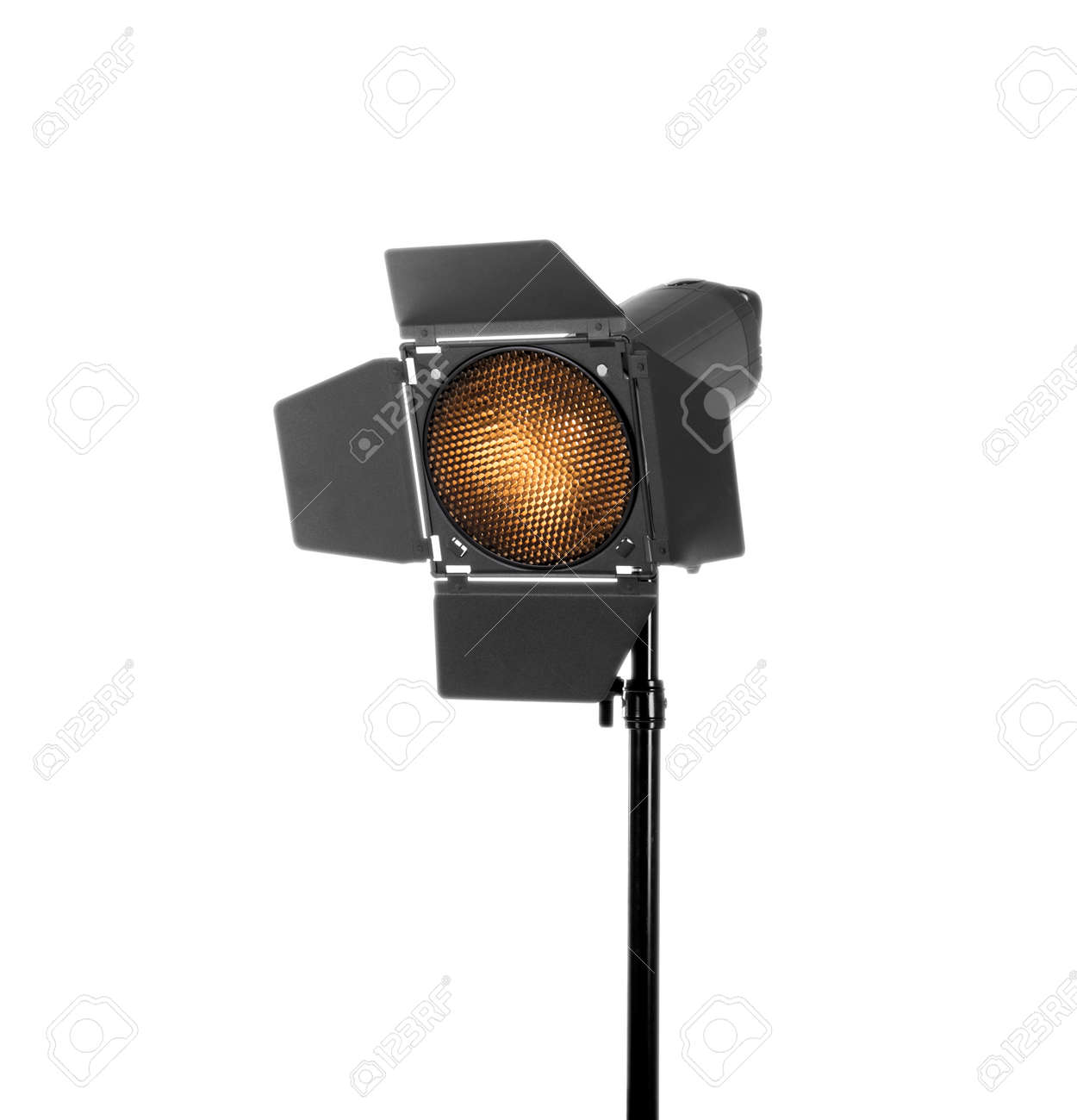 studioverlichting op een witte achtergrond wordt gesoleerd die professionele flits en verlichting studio