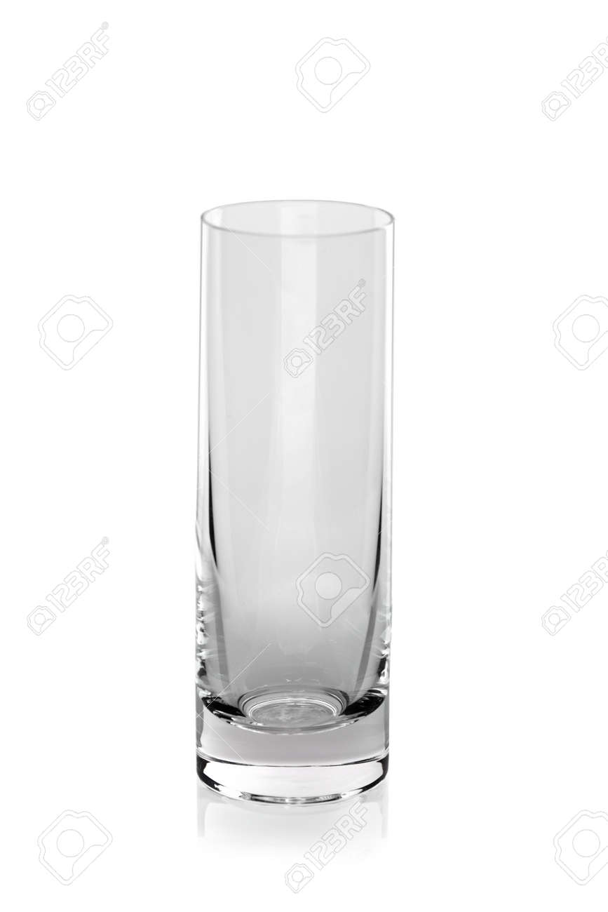 close up of a tall transparent glass for clear mineral water