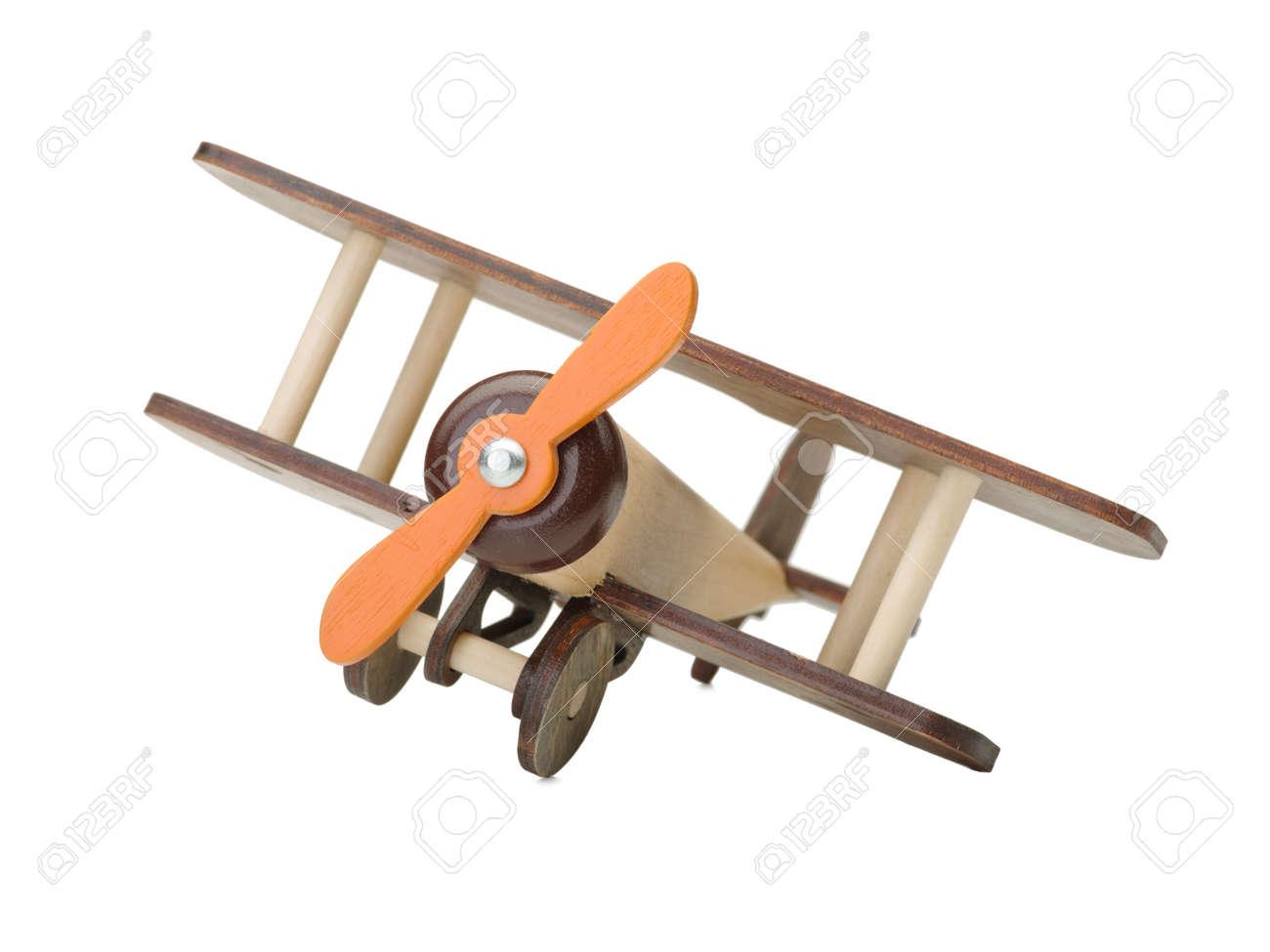 Avion De Juguete De Madera Aislado En Blanco Primer Plano De Un