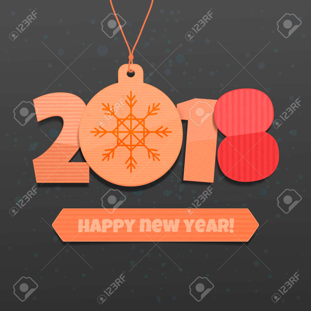 Happy New Year 2018 On A Black Background Design Of A Greeting