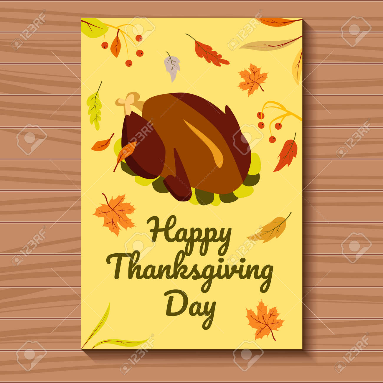 Bison Are Ready For Thanksgiving >> Card Yellow For Thanksgiving Day With A Ready Turkey And Autumn
