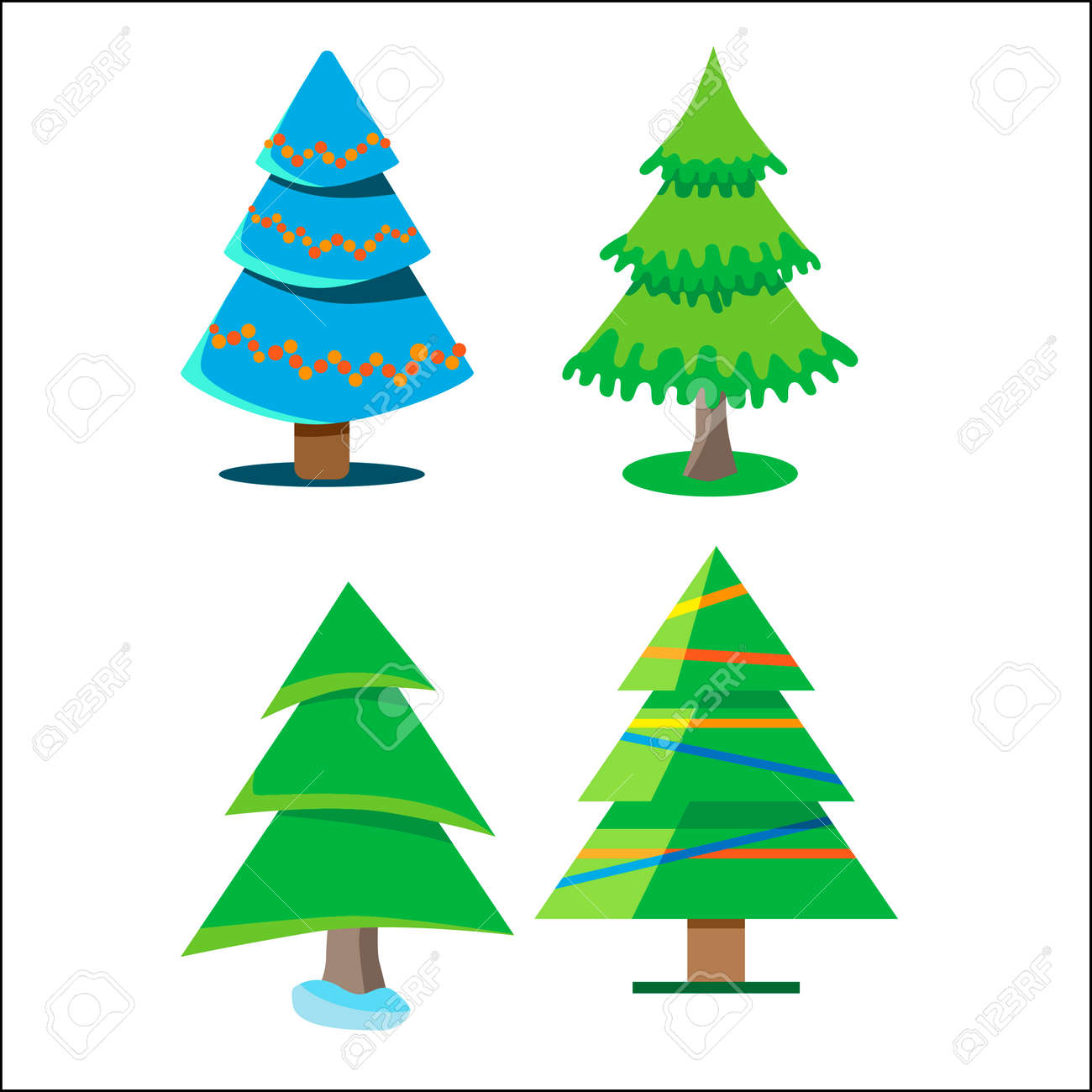 Four Christmas Trees With Different Colors And Shapes. Some Are ...