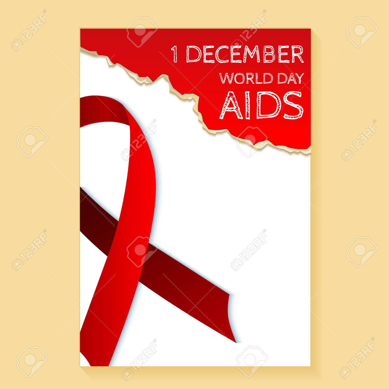 Red Ribbon Symbol Of The Fight Against Aids The Concept Of Charity
