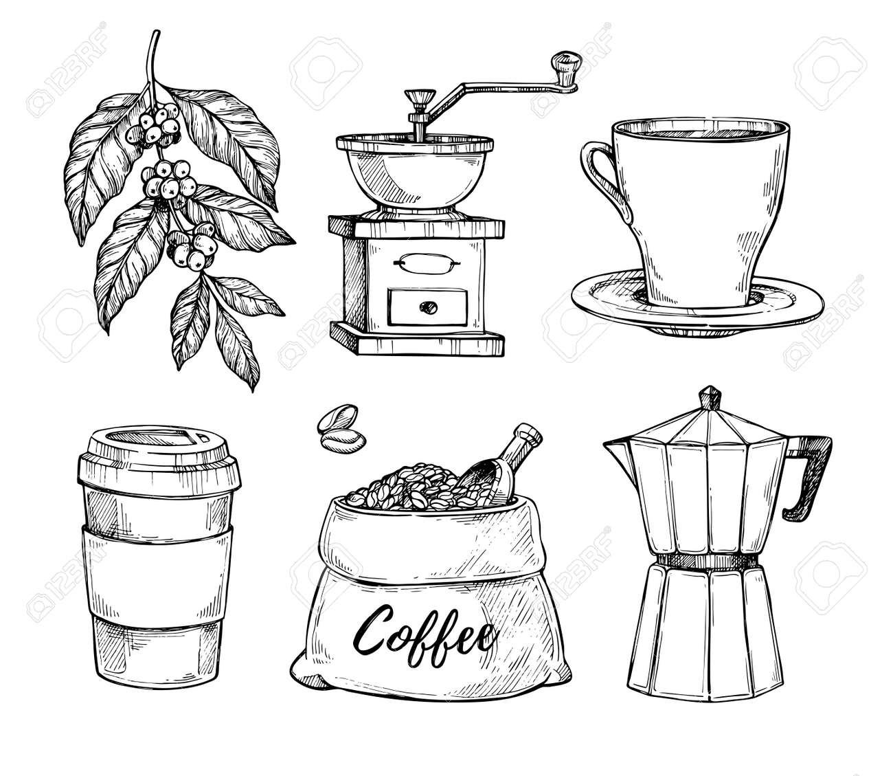 Natural grain coffee vintage hand drawn illustration set. Cup on saucer, coffee grinder, coffee beans bag, paper cup sketches isolated on white background. - 65879139