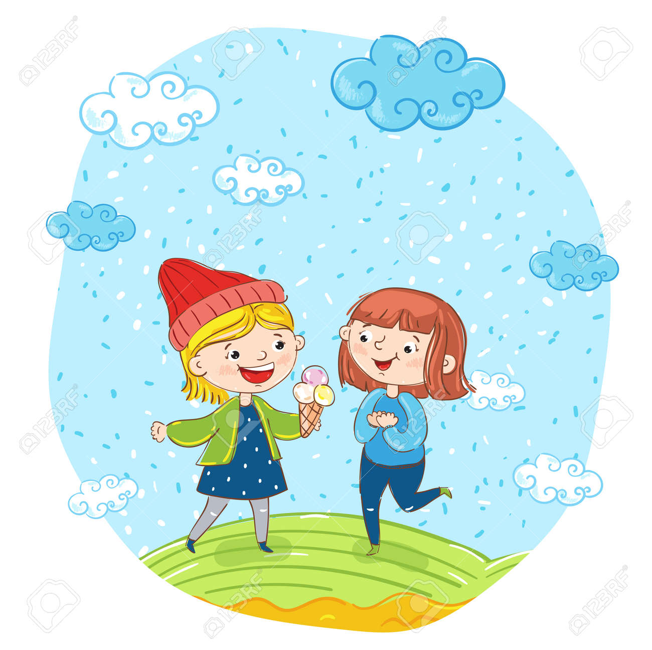 Happy Young Girl Cartoon Characters Illustration Two Girlfriends Having Fun Smiling Chatting And