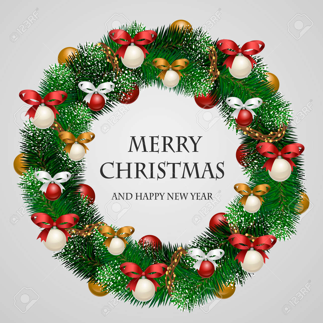 Christmas wreath. Beautiful evergreen wreath of Xmas tree branches with garland, toys, ribbons illustration. Merry Christmas and Happy New Year greetings. Home decoration for winter celebration - 65879940