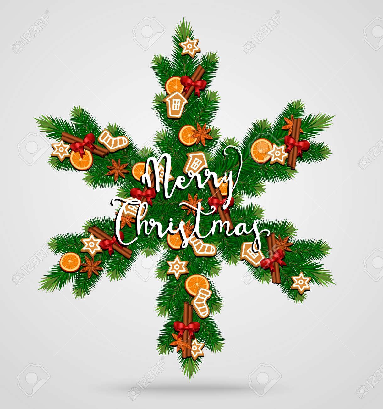 Evergreen Weihnachten Kranz. Schneeflocke Gebildet Von ...
