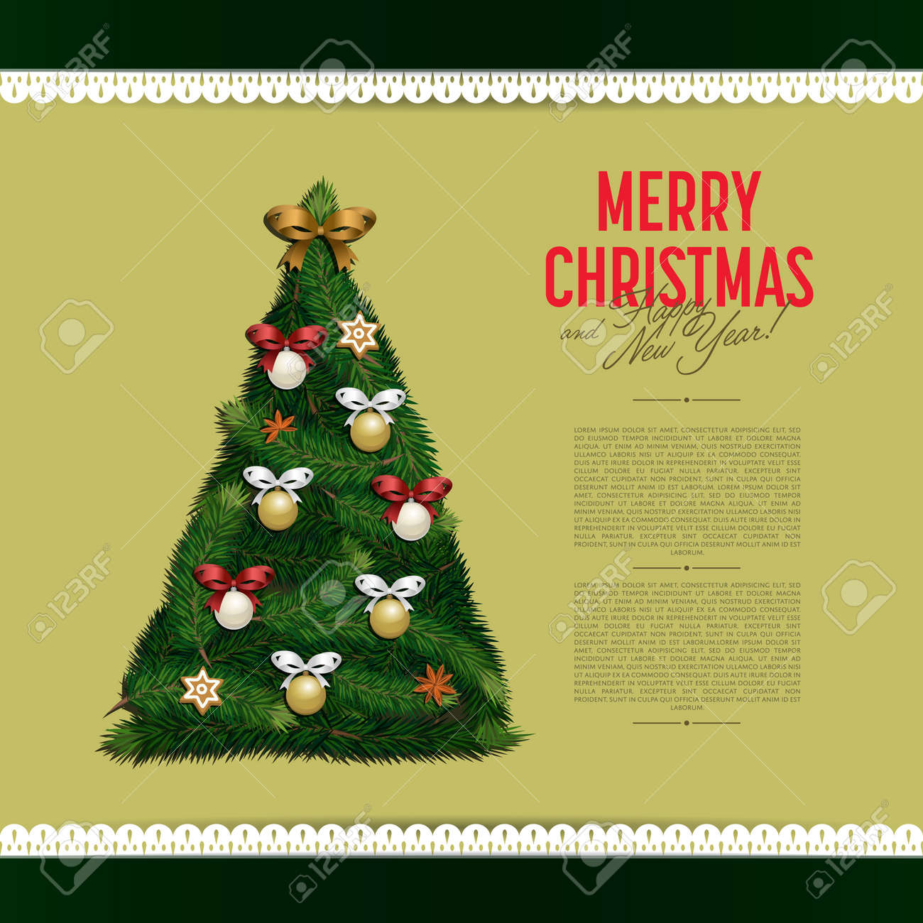 Merry Christmas And Happy New Year Greeting Card Vector Illustration