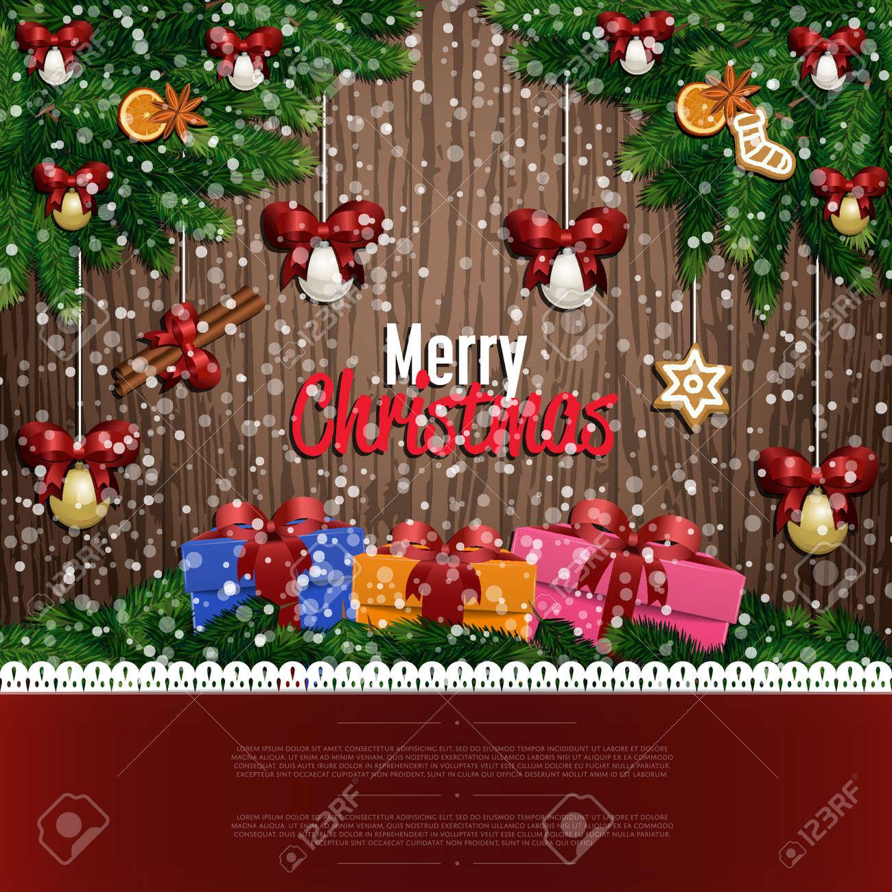 Frohe Weihnachten Und Happy New Year Grüße Vektor-Illustration ...