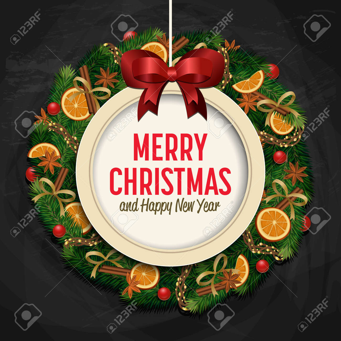 Merry christmas and happy new year greetings vector illustration merry christmas and happy new year greetings vector illustration xmas ball with bow and greeting m4hsunfo