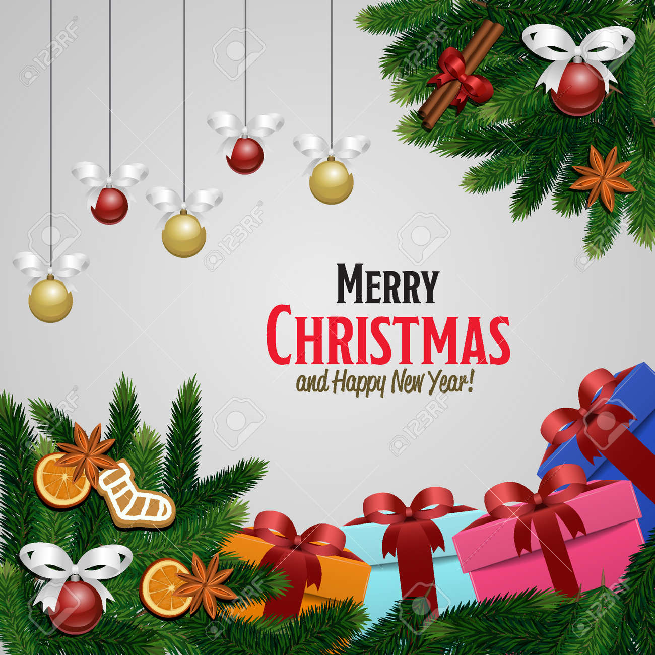 Merry Christmas And Happy New Year Greetings Vector Illustration ...