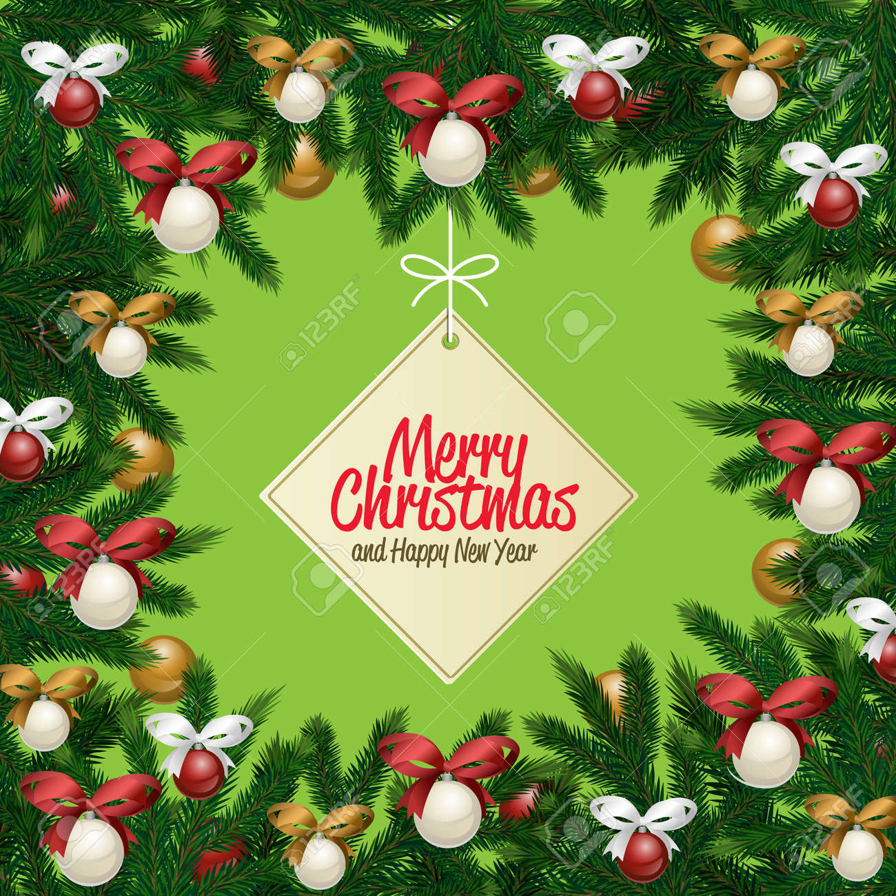 Merry Christmas And Happy New Year Greetings Vector Illustration