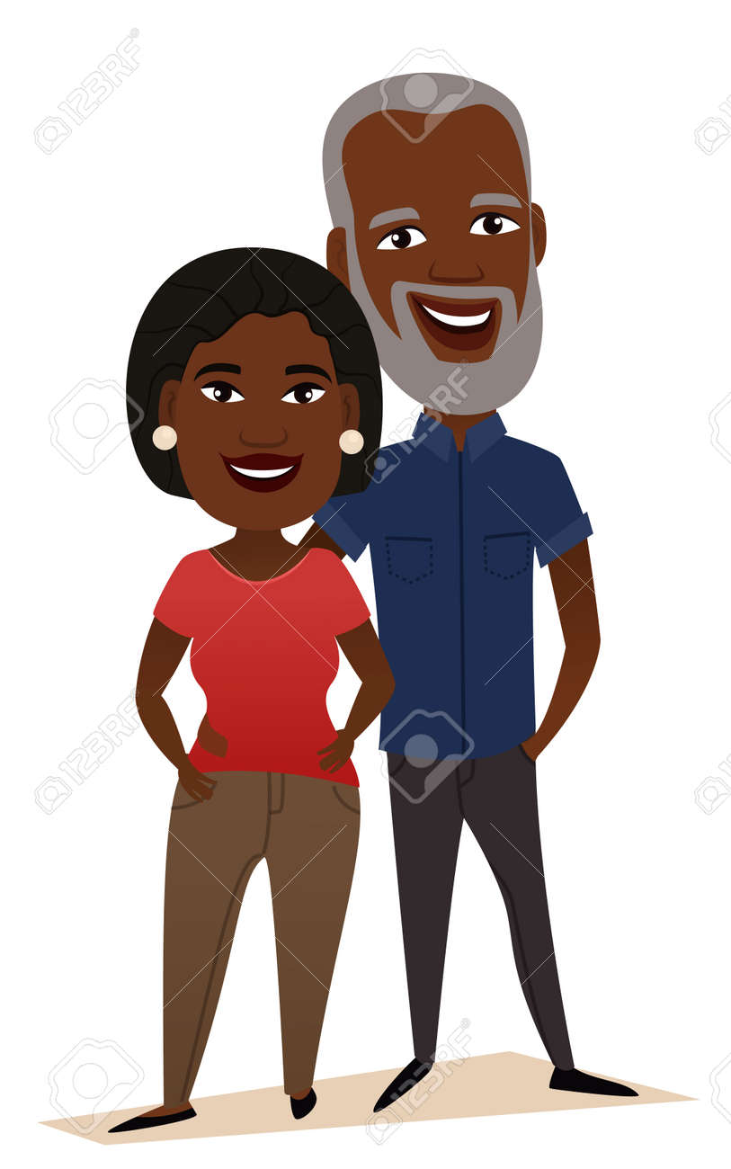 Happy black middle aged couple isolated vector illustration. Smiling grandfather and grandmother cartoon characters. Happy old people portrait, cheerful elderly family standing together, senior couple - 69063714