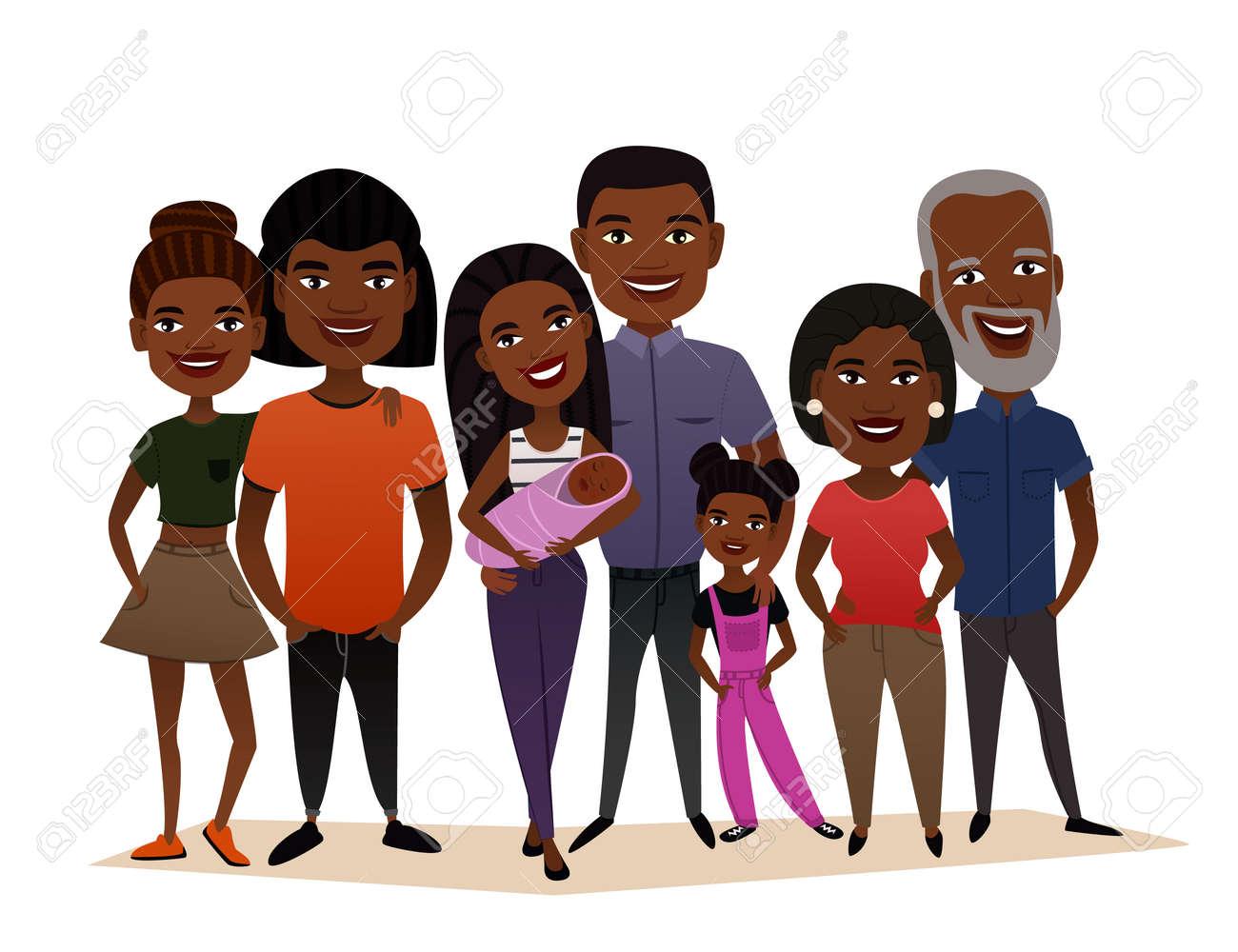 Big Happy Black Family Cartoon Concept Royalty Free Cliparts Vectors And Stock Illustration Image 69262119