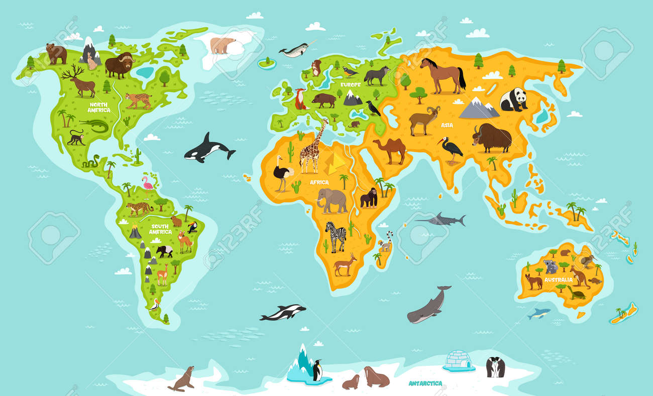 World map with wildlife animals vector illustration animals vector world map with wildlife animals vector illustration animals planet concept world continents with flora and fauna giraffe elephant monkey gumiabroncs Image collections