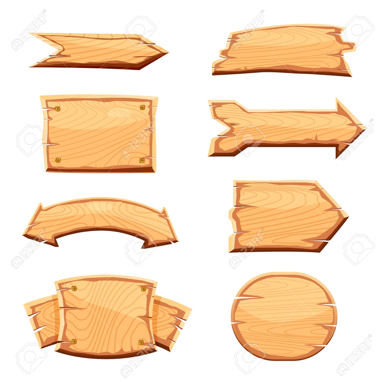 Wooden label set isolated on white background vector illustration. Various shapes wooden sign board for sale, price, discount sticker, banner, badge. Cartoon wooden pointer retro style collection - 69365210