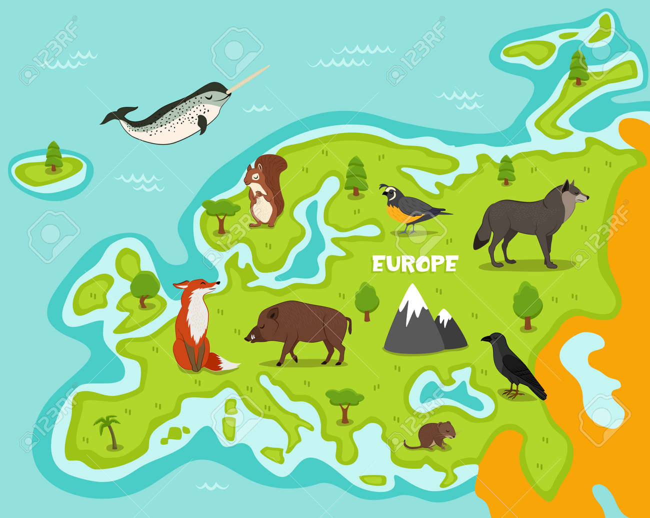 European Map With Wildlife Animals Vector Illustration Cartoon Flora And Fauna Squirrel Wolf