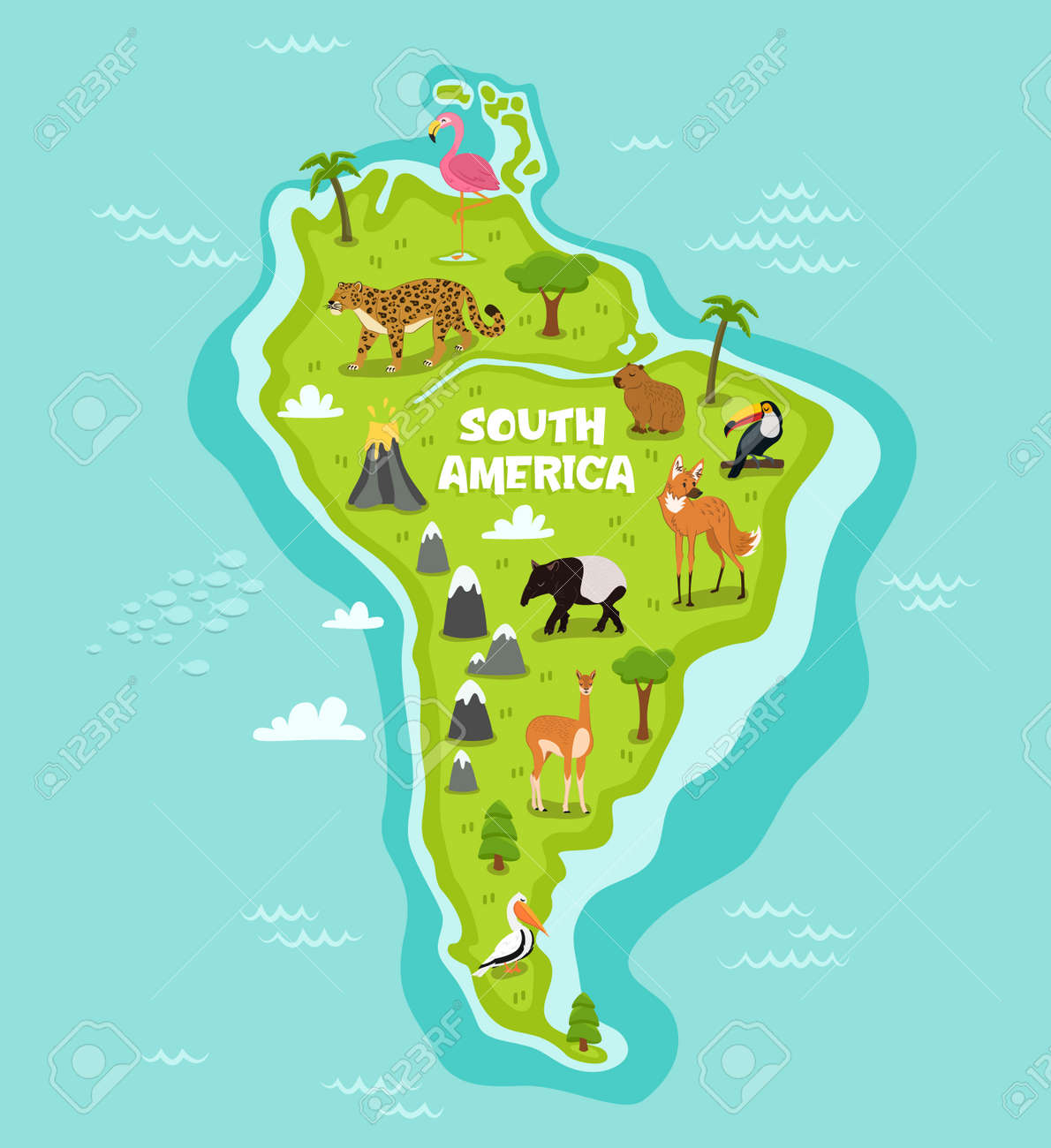 South american map with wildlife animals vector illustration. Cartoon flora and fauna, wolf, lama, tapir, pelican, flamingo, toucan, jaguar. South american continent in blue ocean with wild animals - 69365215