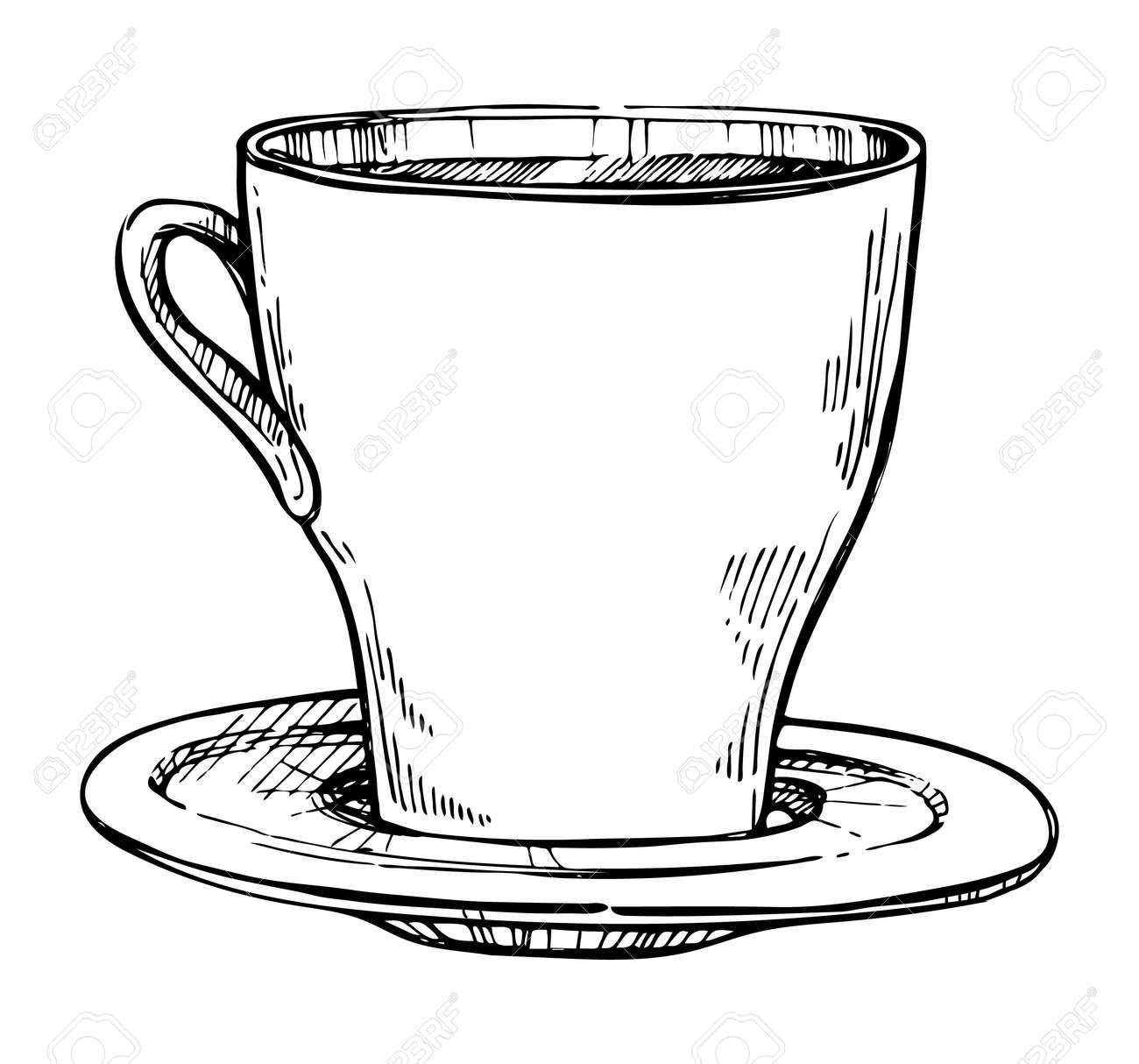 Vettoriale Disegno A Matita A Mano Libera Della Tazza Di Caffè