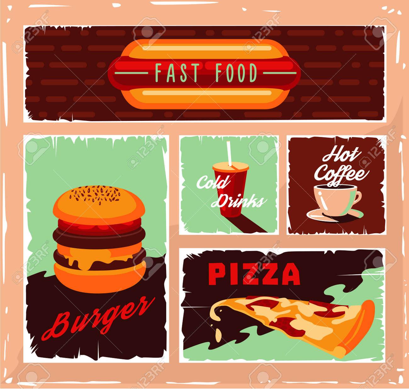 Vintage Fast Food Banner Set Vector Illustration Retro Burger