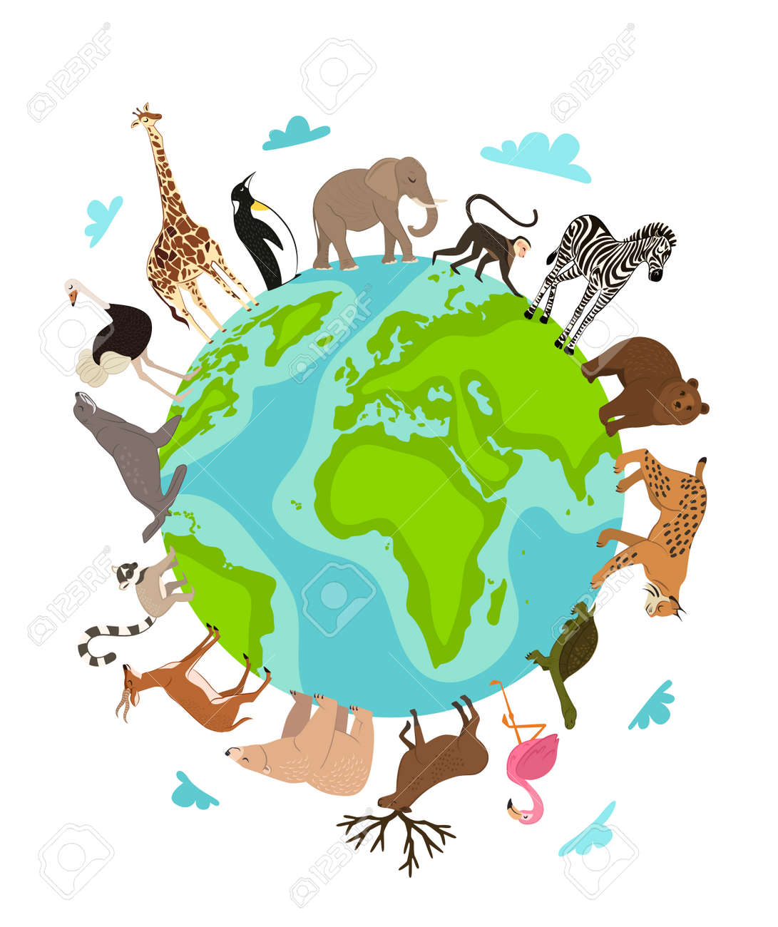 Wild animals around globe banner vector illustration animals lynx in cartoon style wild animals around globe banner vector illustration animals planet concept world continents fauna gumiabroncs Image collections