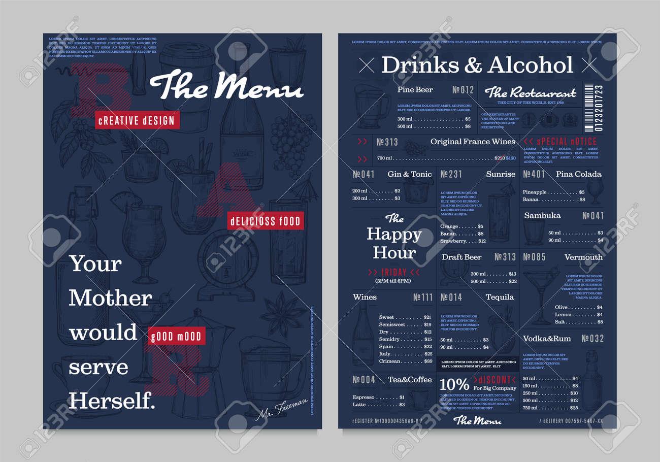 Restaurant Or Cafe Menu Vintage Design Vector Illustration. Drinks ...