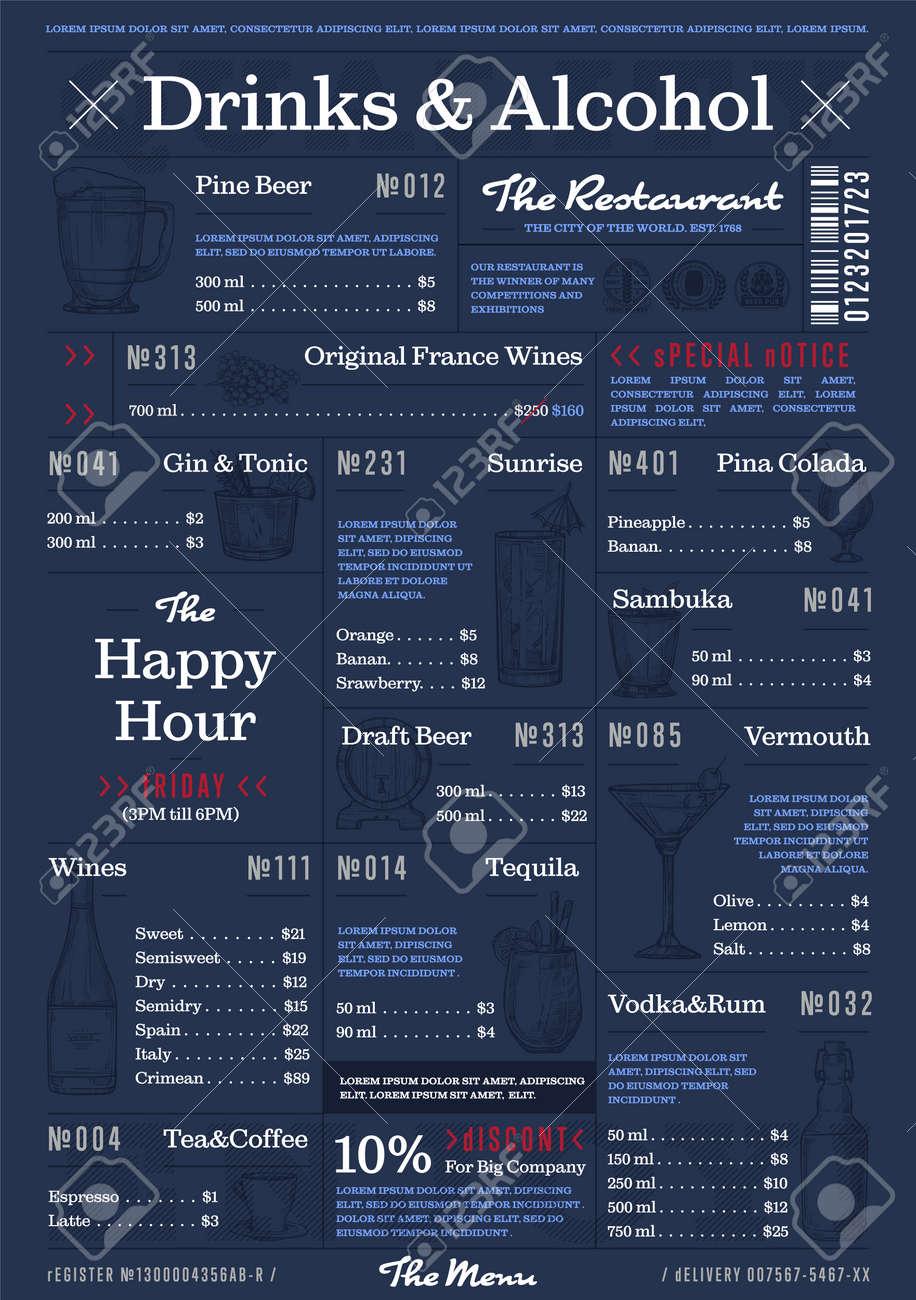 restaurant or cafe menu vintage design vector illustration drinks